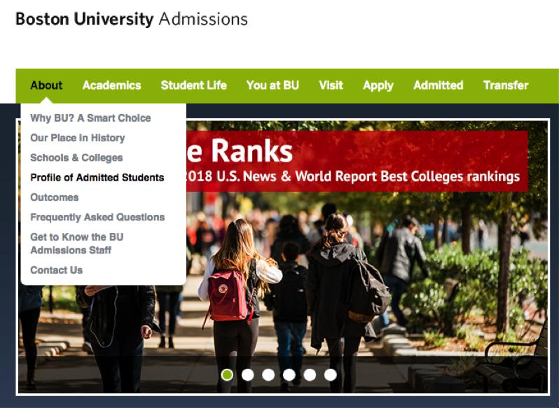 boston university admissions landing