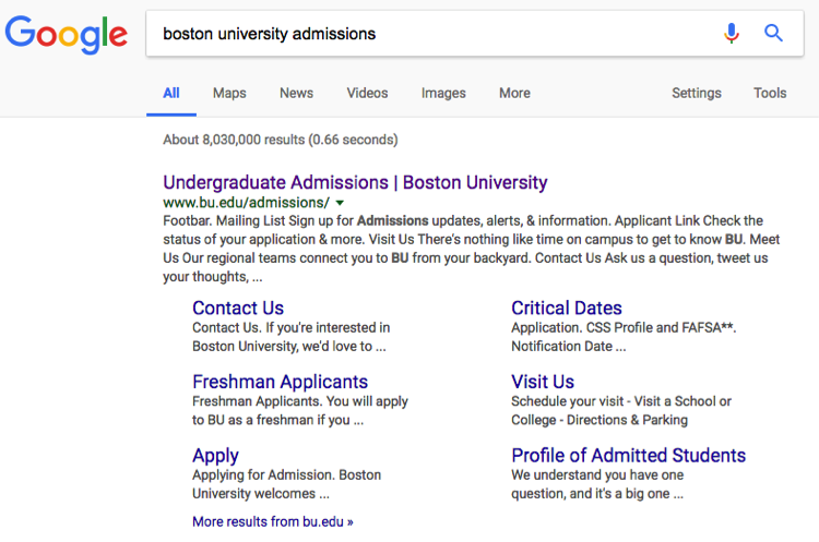 Boston University admissions search example