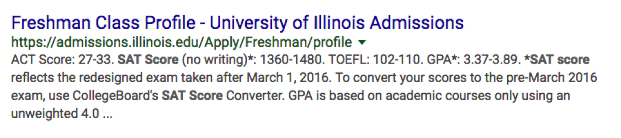 university illinois admissions google results