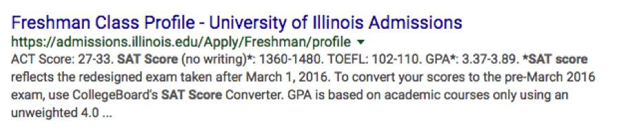 university illinois admissions google results
